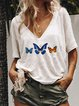 Butterfly Printed Short Sleeve V Neck T-Shirts