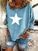 Long Sleeve Casual Plus Size Star Printed Shirts Tops