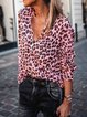 Leopard Printed Long Sleeve Shirts & Tops
