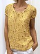 Yellow Short Sleeve Round Neck Casual Tops