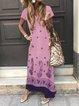 Women Summer Maxi Dress Plus Size Short Sleeve Dresses