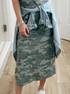 Green Printed Casual Crew Neck Cotton Dresses