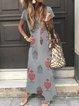 Summer Maxi Dress Printed V Neck Short Sleeve Dresses