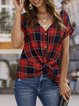 Casual V Neck Gingham Batwing Shirts & Tops