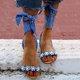 Leather Beading Flat Heel Sandals