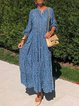 Blue Patchwork Printed Casual Dresses