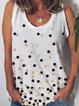 Plus size Sleeveless Casual Polka Dots Shirts & Tops