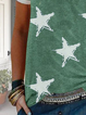 Green Short Sleeve Star Crew Neck Shirts & Tops