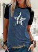 Summer Women Short Sleeve Star Print Vintage Crew Neck Shirts & Tops