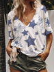 White Knitted Star V Neck Casual Shirts & Tops