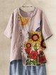 Pink Cotton-Blend Floral Short Sleeve Shirts & Tops