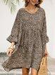 Leopard Leopard Print V Neck 3/4 Sleeve Dresses