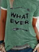 Green Cotton Short Sleeve Crew Neck Shirts & Tops
