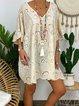 Apricot Cotton-Blend Short Sleeve Dresses