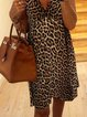 Leopard Short Sleeve V Neck Printed Dresses
