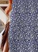 Navy Blue Cotton-Blend Casual Floral Crew Neck Dresses