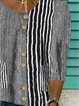 Black Short Sleeve Striped Floral-Print Shirts & Tops