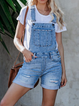 Blue Casual Square Neck One-Pieces