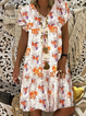 Short Sleeve Floral-Print Dresses