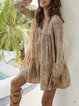 Brown Dresses Shift Daily Printed Leopard Dresses