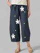Summer Women Floral Pockets Casual Capri Pants