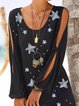 Black Cotton Printed Star Casual Cutout Patchwork Dresses