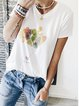 White Printed Casual Cotton-Blend Round Neck Shirts & Tops