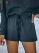 Deep Gray Cotton-Blend Drawstring Casual Pants