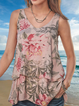 Multicolor Round Neck Floral A-Line Boho Shirts & Tops