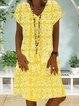 Women Floral Kaftan V-Neck Shift Casual Dresses