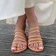 Pi Clue Leather Summer Flat Heel Slippers