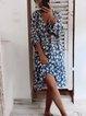 Blue 3/4 Sleeve Floral Dresses
