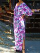 V-neck Print Casual Kaftan Dresses