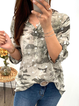 Plus size Long Sleeve Camouflage Star Shirts & Tops