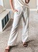 Women Pockets Drawstring Solid Casual Pants