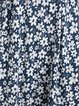 Navy Blue Floral Short Sleeve Crew Neck Cotton-Blend Dresses