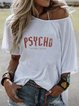 White Printed Casual Crew Neck T-Shirts