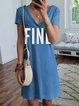 Casual Letter Short Sleeve Dresses