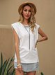 White Cotton-Blend Crew Neck Casual Solid Shirts & Tops