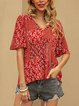 Red V Neck Boho Short Sleeve Shirts & Tops