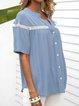 Blue Cotton-Blend Short Sleeve Shift Shirts & Tops