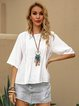 White Crew Neck Casual Shift Solid Shirts & Tops