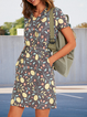 Floral short sleeve loose midi dress