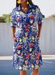 Half-sleeved casual pocket dress floral loose mid-length dress