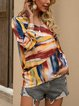 Blue Abstract Casual Shirts & Tops