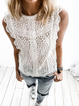 White Sleeveless Crew Neck Cotton Shirts & Tops