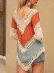Khaki Crew Neck Boho Ombre/tie-Dye Shift Shirts & Tops