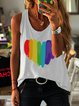 Heart & Rainbow Printed Casual Sleeveless Crew Neck T-shirt