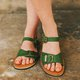 Green Leather Summer Sandals