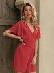 Dark Red V Neck A-Line Short Sleeve Chiffon One-Pieces